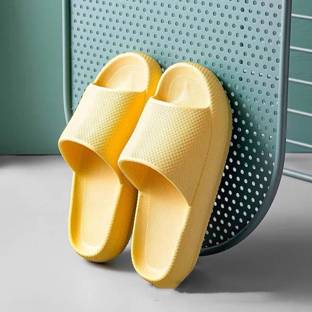 Trend Thick Sole Home Slippers Women Platform Flat Shoes Non-slip Living Room Indoor Men Slides EVA Solid Women Slippers