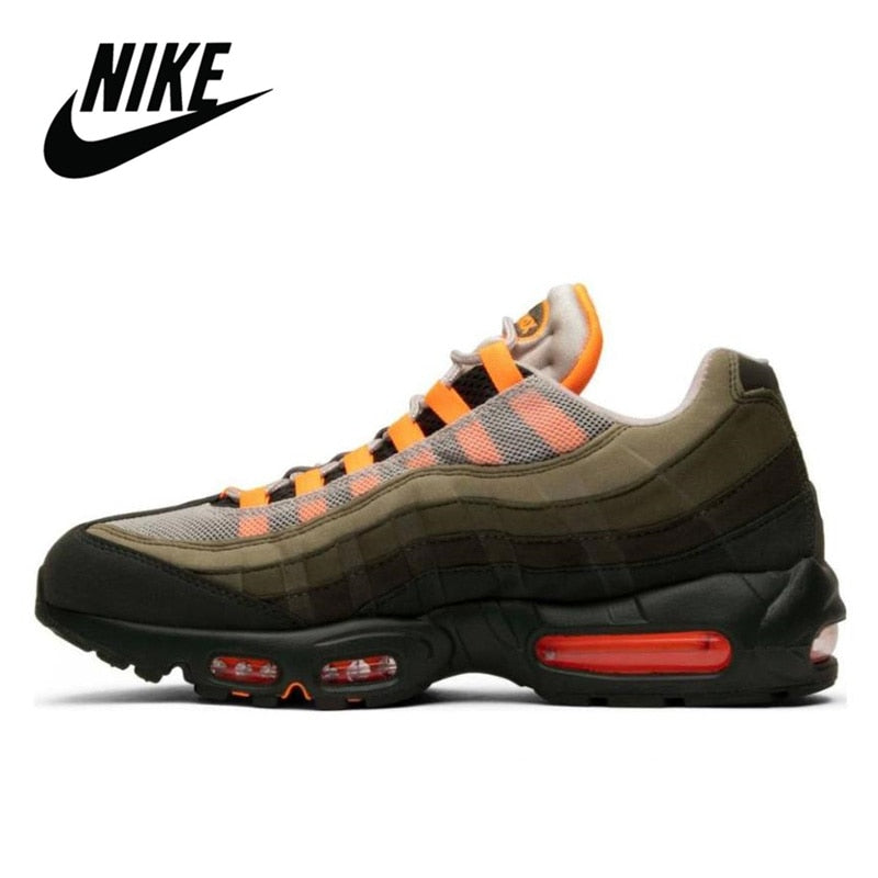Nike Air Max 95 Original Running Shoes for Men OG Neutral Olive Total Orange Breathable Outdoor Sports Jogging Comfortable