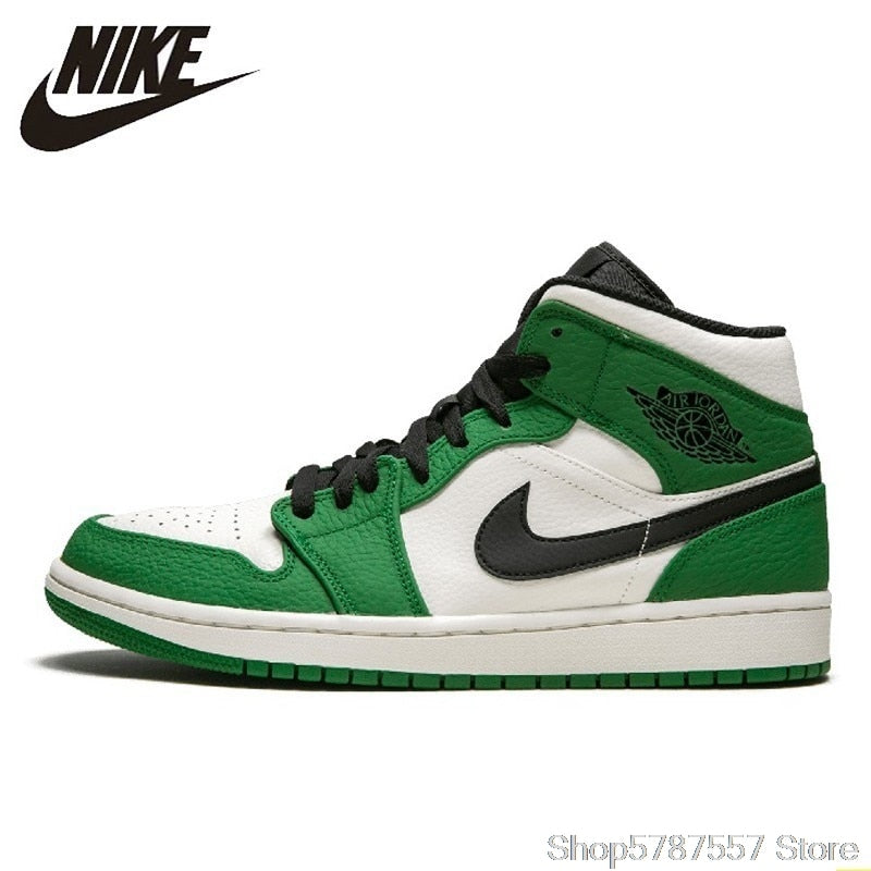 Nike Air Jordan 1 Mid Aj1 New Arrival Men Basketball Shoes White Green Comfortable Shoes Outdoor Soprts Sneakers #BQ6931-301