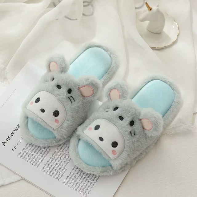 Women Home Melody Slippers Shoes Pink Blue Indoor slippers Slip on Flats Slides Female Slippers Women Shoes Xmas Gifts