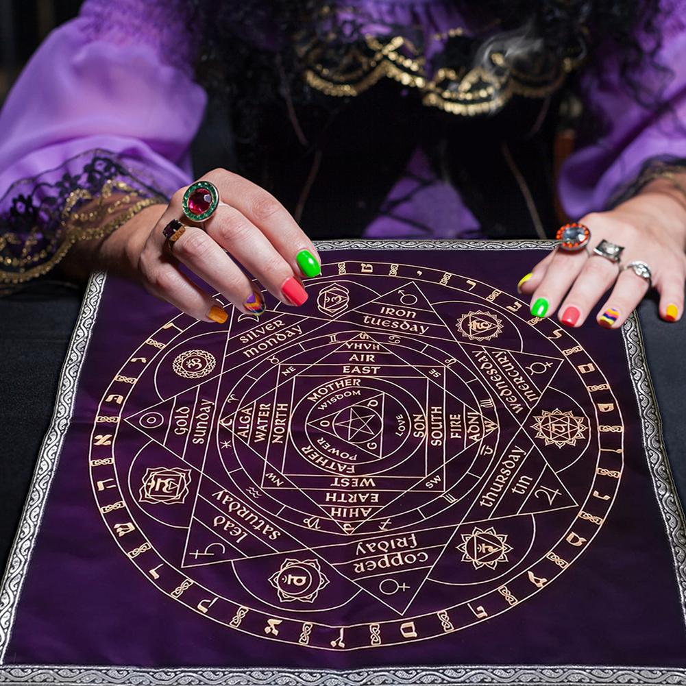 58 X 58CM Tarot Table Cloth Charm Table Spiritual Healing Tarot Table Mat Magic Pentacle Runes Tarot Table Cloth Table Cover