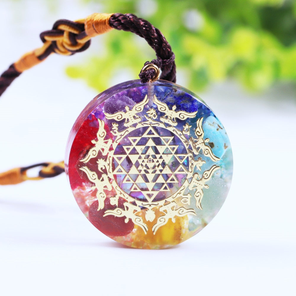 Orgone Energy Rainbow Pendant Necklace Emf Protection Spiritual Crystal Healing 7 Chakra Stone Radiation Reiki Jewelry