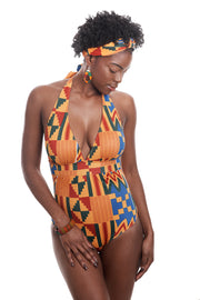 kente one piece swimsuit