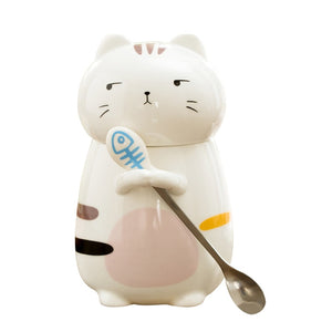 Cat Ceramic Coffee Mug With Lid