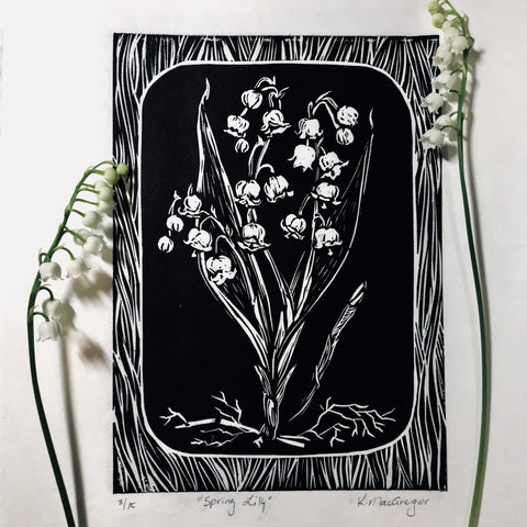 Lily of the valley original print with the flower done in black on white Japanese paper