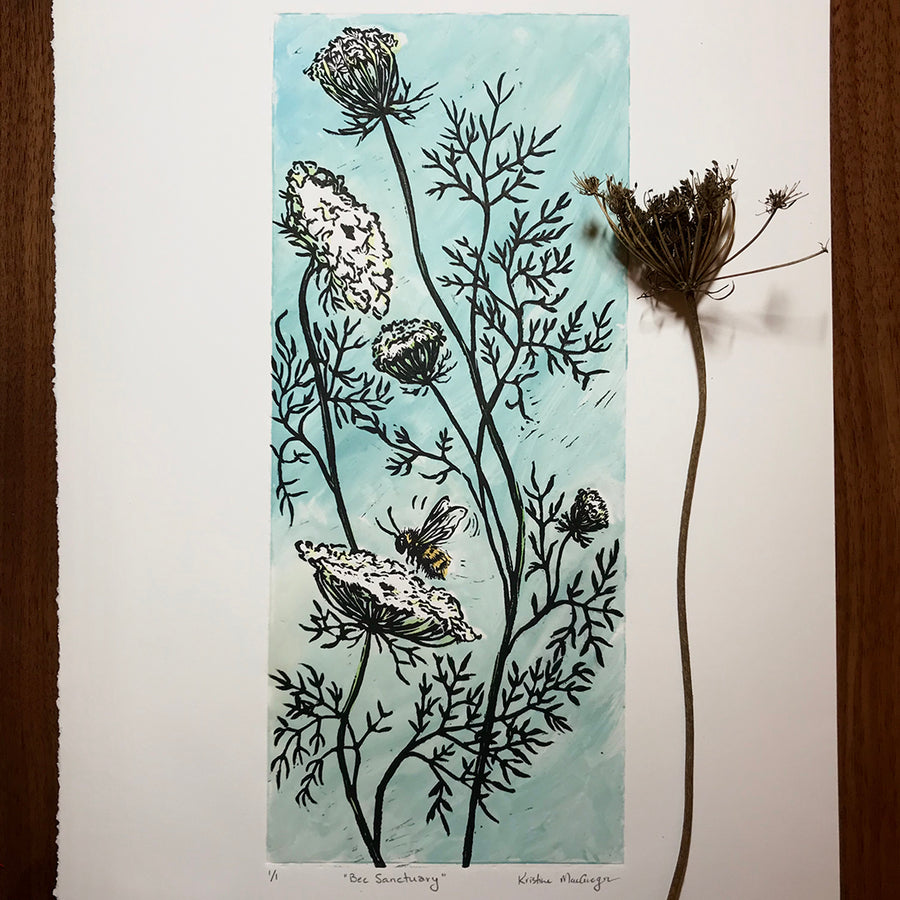 Queen Anne's Lace and a honey bee artwork created as a mono print with a lino block print overlay