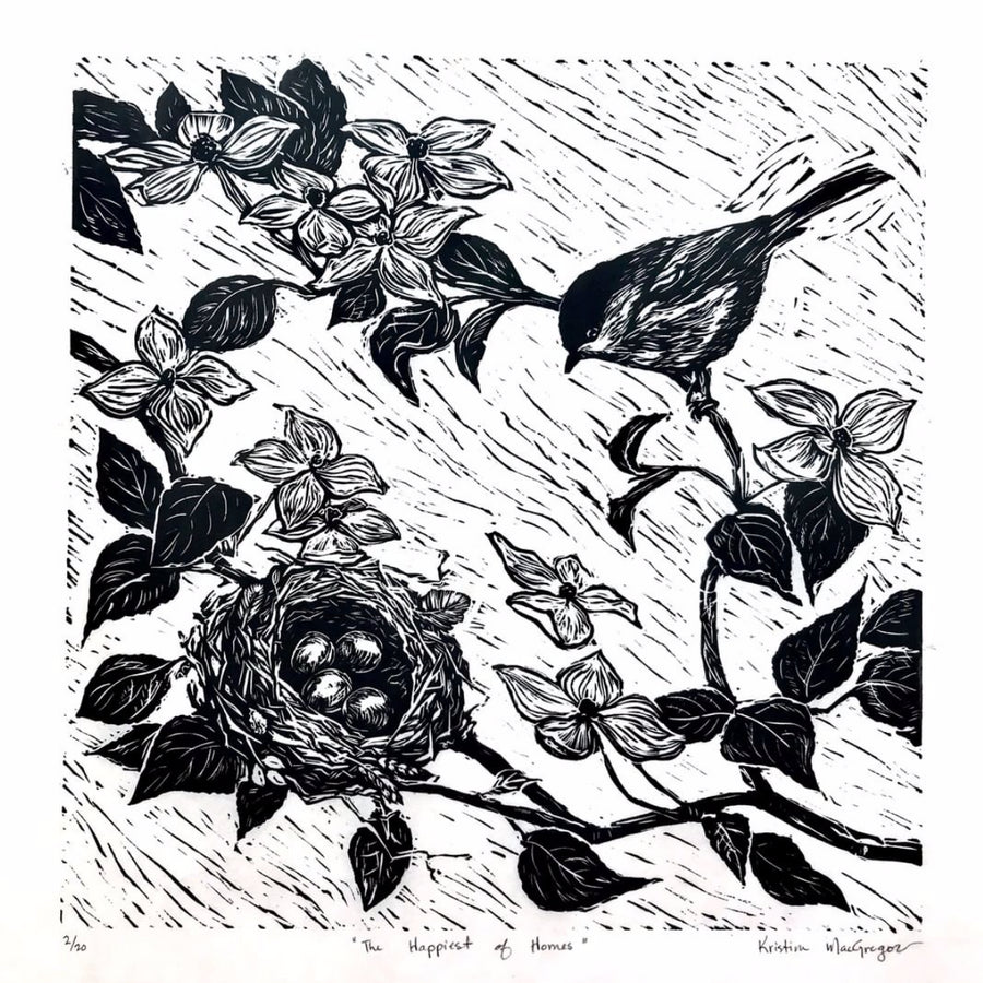 Sparrow mother overlooking her nest in the flowering dog wood tree done in a lino block print