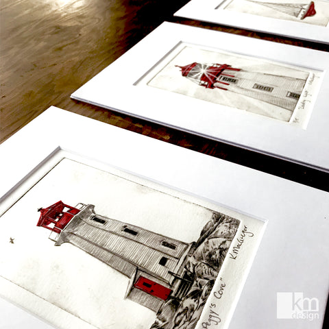 Original artwork of Peggy's Cove Lighthouse done by Kristine MacGregor at KM Design as part of the Red Series