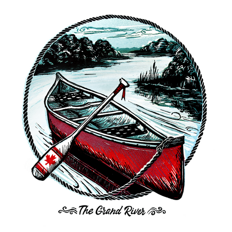 The Grand River Canoe artwork on White by Kristine MacGregor