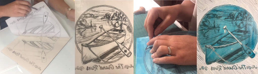 transfer and carving process of a relief printmaking plate.