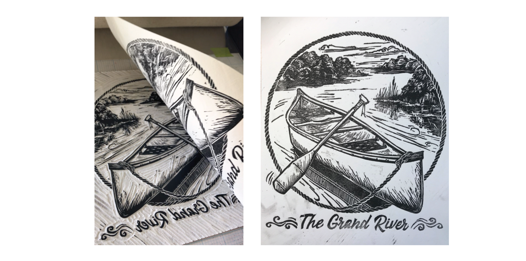 The Grand River Print - Key plate reveal of the Black layer being printed - relief print
