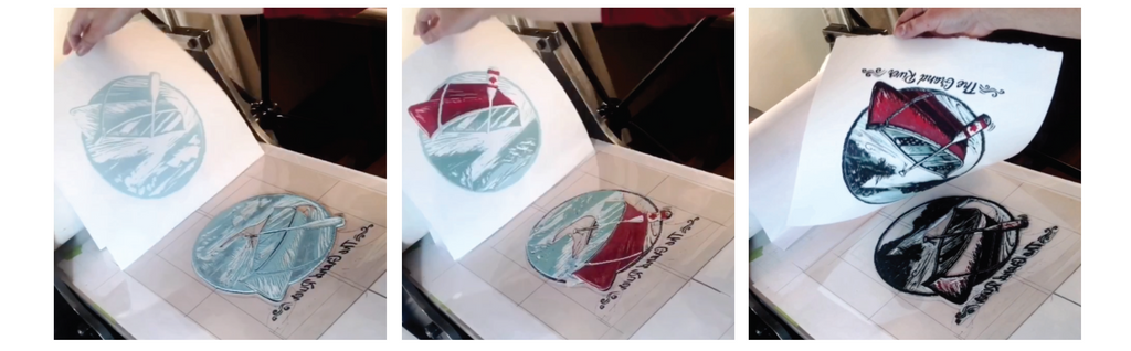 The 3 stages of 4 colour relief print on an etching press for a final grand river original print