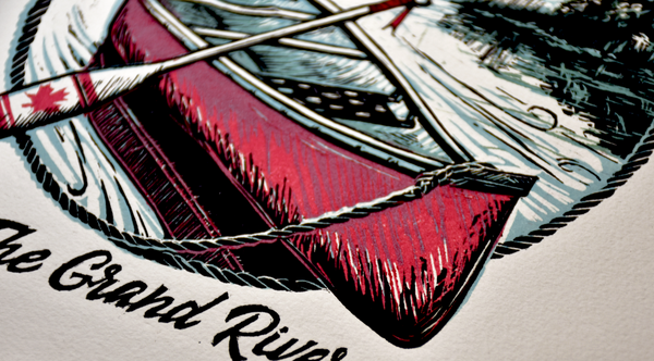 The Grand River red canoe detail