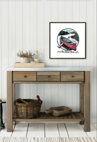 Cottage home decor and interior decorating with canoe art
