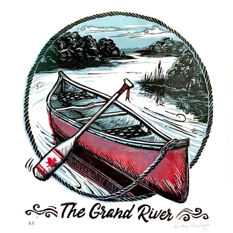 The Grand River original artwork with a Red Canoe