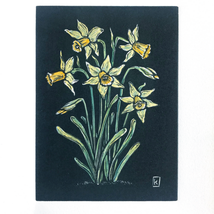 Daffodil original print created as a reduction lino with watercolour tinting