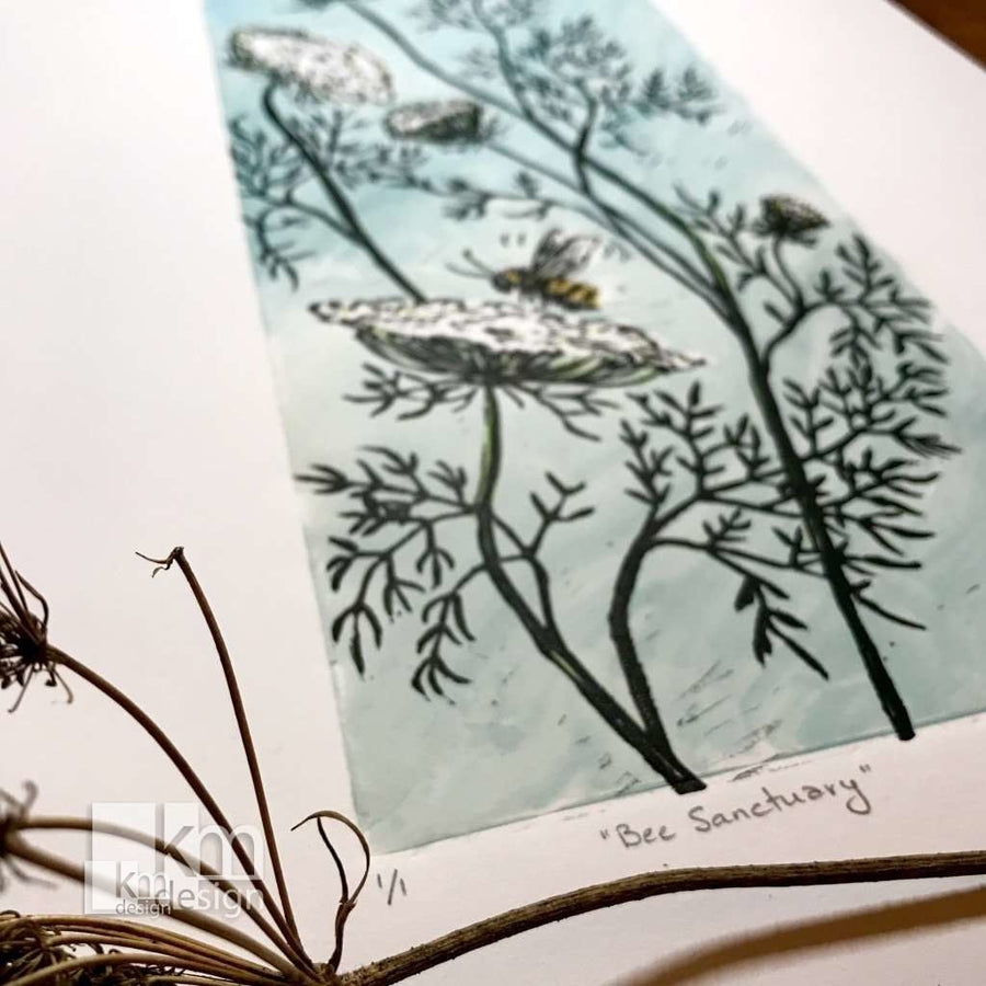 Bee Sanctuary, [product type],handmade - Kristine MacGregor - KM Design - Art - Printmaking