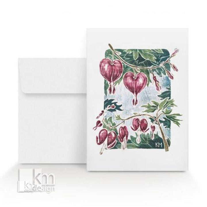 Card - Bleeding Heart, [product type],handmade - Kristine MacGregor - KM Design - Art - Printmaking
