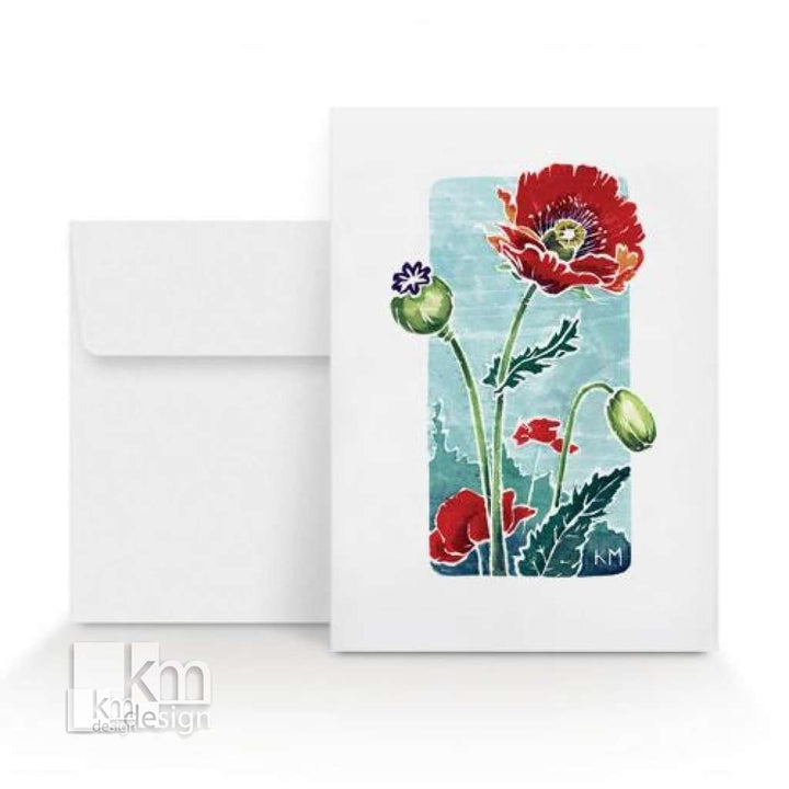 Card - Poppy, [product type],handmade - Kristine MacGregor - KM Design - Art - Printmaking