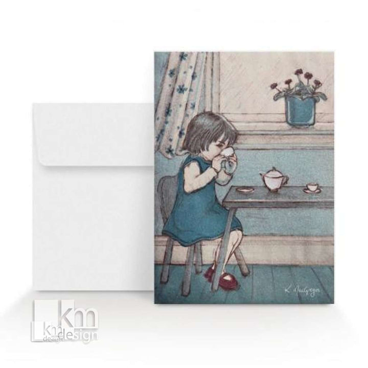 Card - Tea Party, [product type],handmade - Kristine MacGregor - KM Design - Art - Printmaking