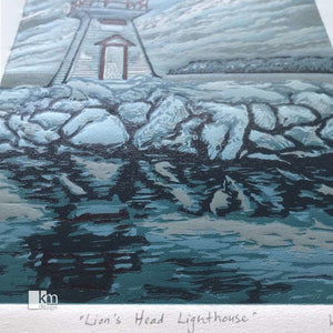 Lion's Head Lighthouse, [product type],handmade - Kristine MacGregor - KM Design - Art - Printmaking