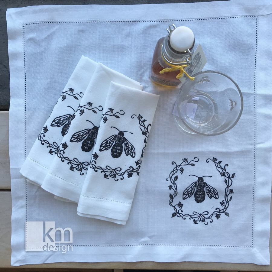Napkins - Bee, [product type],handmade - Kristine MacGregor - KM Design - Art - Printmaking