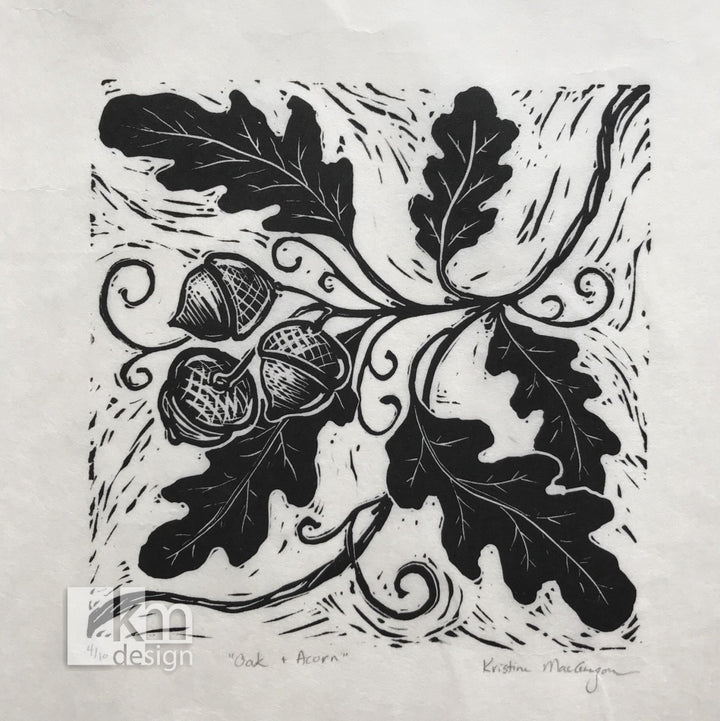 Oak and Acorn Print, [product type],handmade - Kristine MacGregor - KM Design - Art - Printmaking
