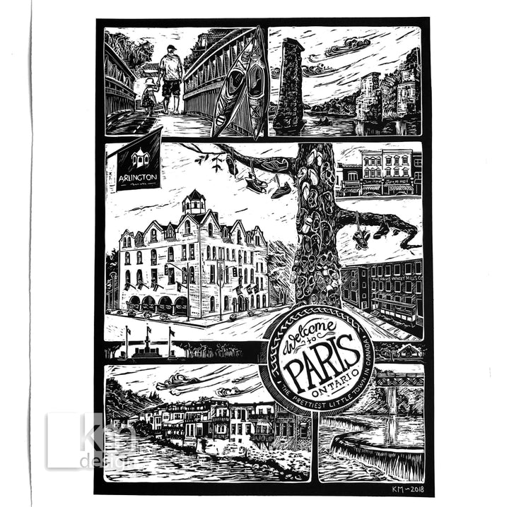 Paris - Prettiest little town in Canada, [product type],handmade - Kristine MacGregor - KM Design - Art - Printmaking