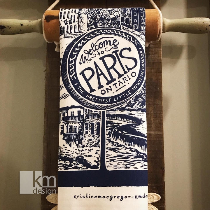 Paris Tea Towel - Prettiest little town in Ontario, [product type],handmade - Kristine MacGregor - KM Design - Art - Printmaking