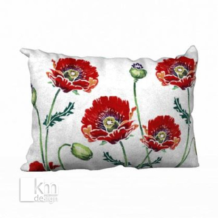 "Pillowcase 20"" x 14"" - Poppy plus blue side - Kristine MacGregor - KM Design"