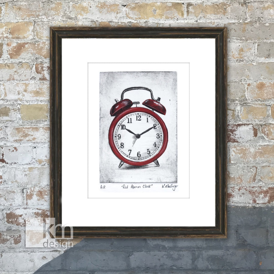 "Red Alarm Clock ""It's Time"", [product type],handmade - Kristine MacGregor - KM Design - Art - Printmaking"