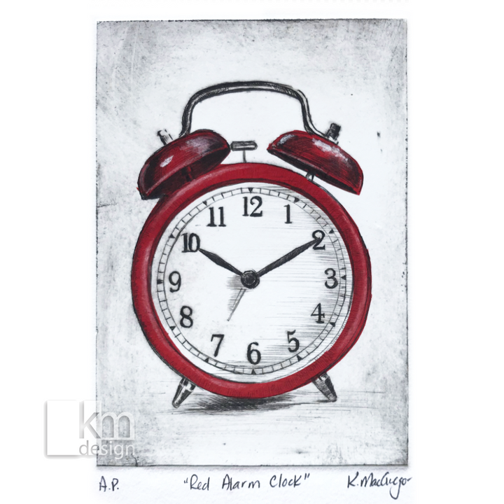 "Red Alarm Clock ""It's Time"" - Kristine MacGregor - KM Design"