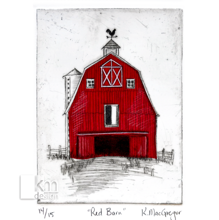 Red Barn, [product type],handmade - Kristine MacGregor - KM Design - Art - Printmaking