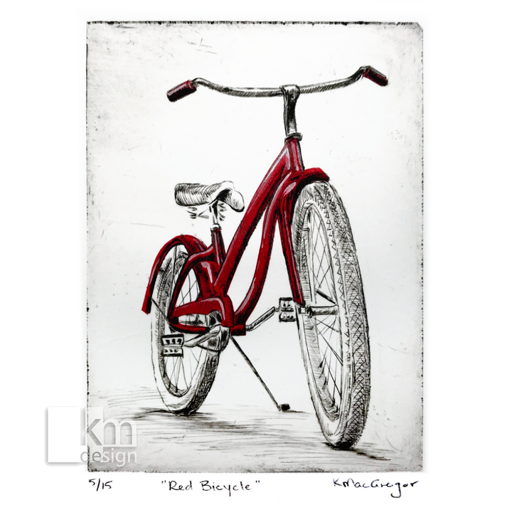 Red Bicycle, [product type],handmade - Kristine MacGregor - KM Design - Art - Printmaking