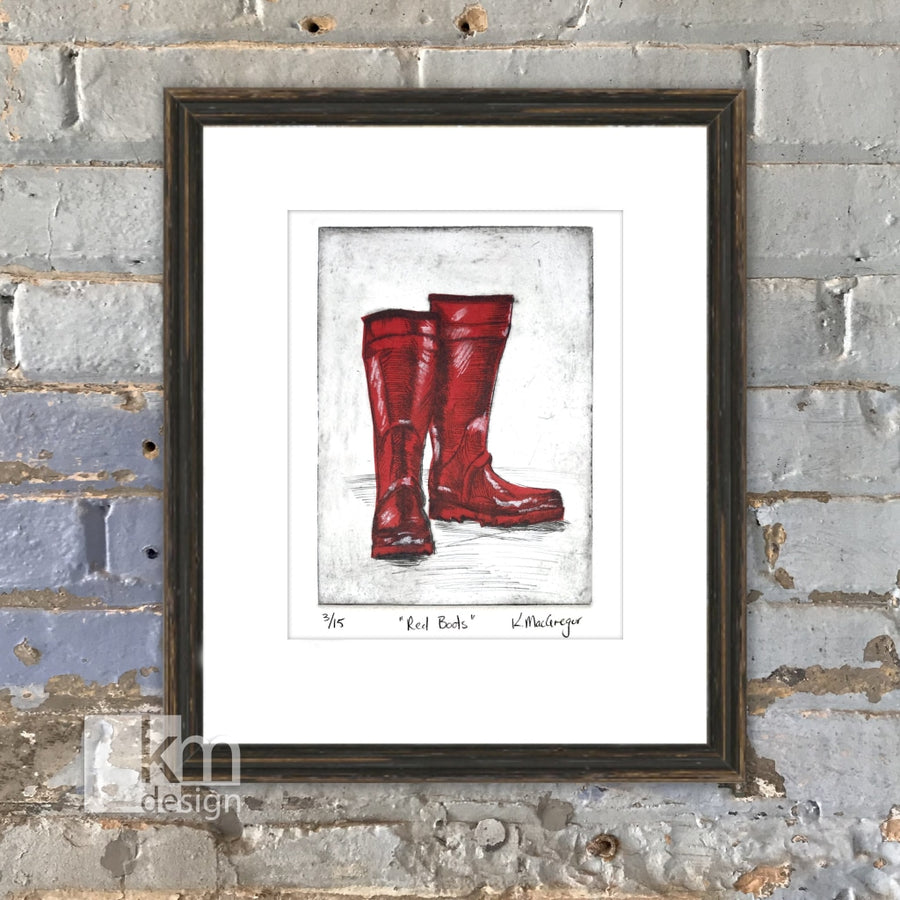 Red Boots, [product type],handmade - Kristine MacGregor - KM Design - Art - Printmaking