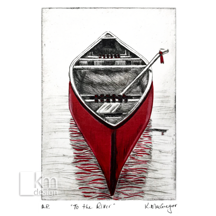 "Red Canoe ""To the River"", [product type],handmade - Kristine MacGregor - KM Design - Art - Printmaking"