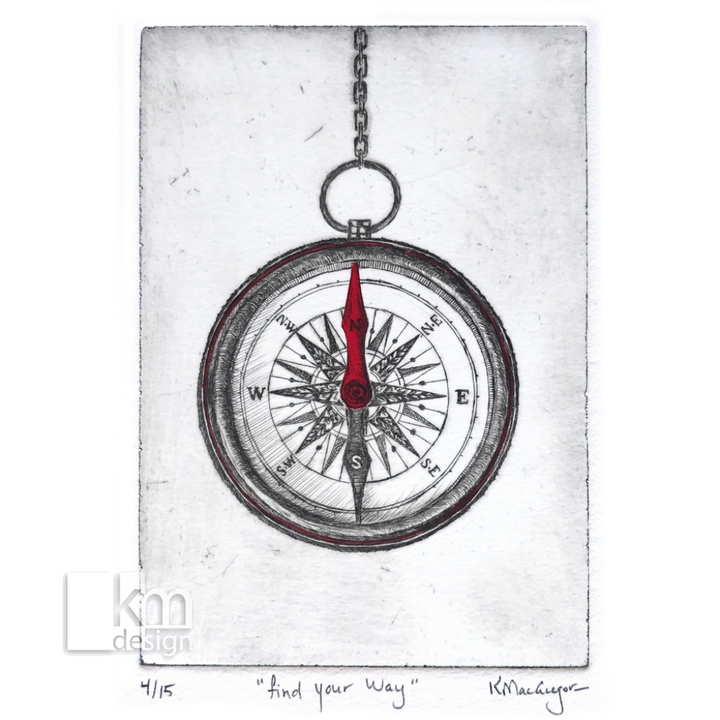 "Red Compass ""Find your way"", [product type],handmade - Kristine MacGregor - KM Design - Art - Printmaking"