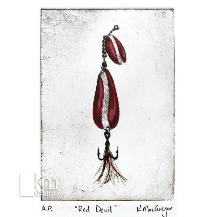 "Red Fishing Lure ""Dardevle"", [product type],handmade - Kristine MacGregor - KM Design - Art - Printmaking"