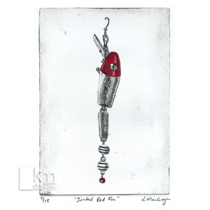 "Red Fishing Lure ""Jointed Redfin"" - Kristine MacGregor - KM Design"