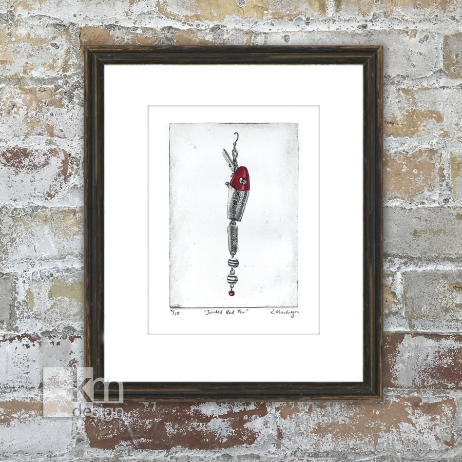 "Red Fishing Lure ""Jointed Redfin"", [product type],handmade - Kristine MacGregor - KM Design - Art - Printmaking"