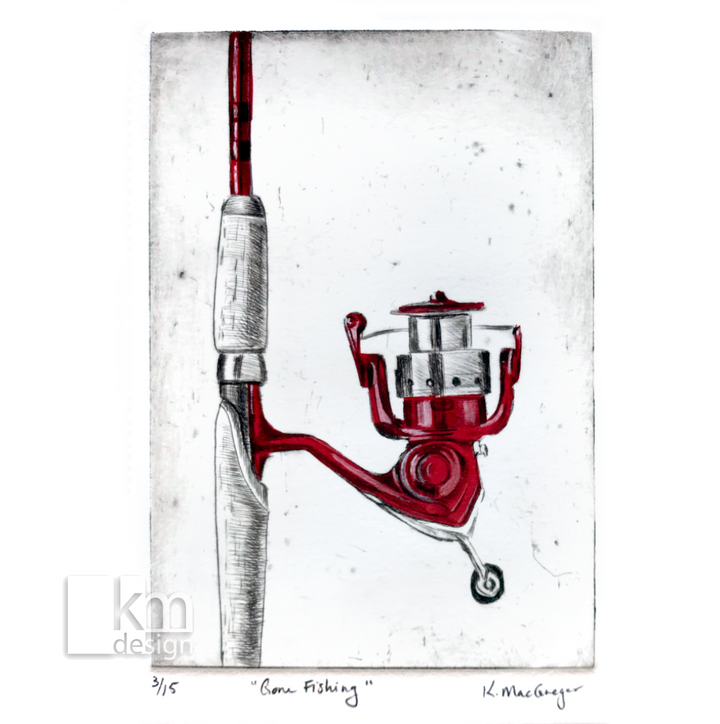 "Red Fishing Rod ""Gone Fishing"", [product type],handmade - Kristine MacGregor - KM Design - Art - Printmaking"