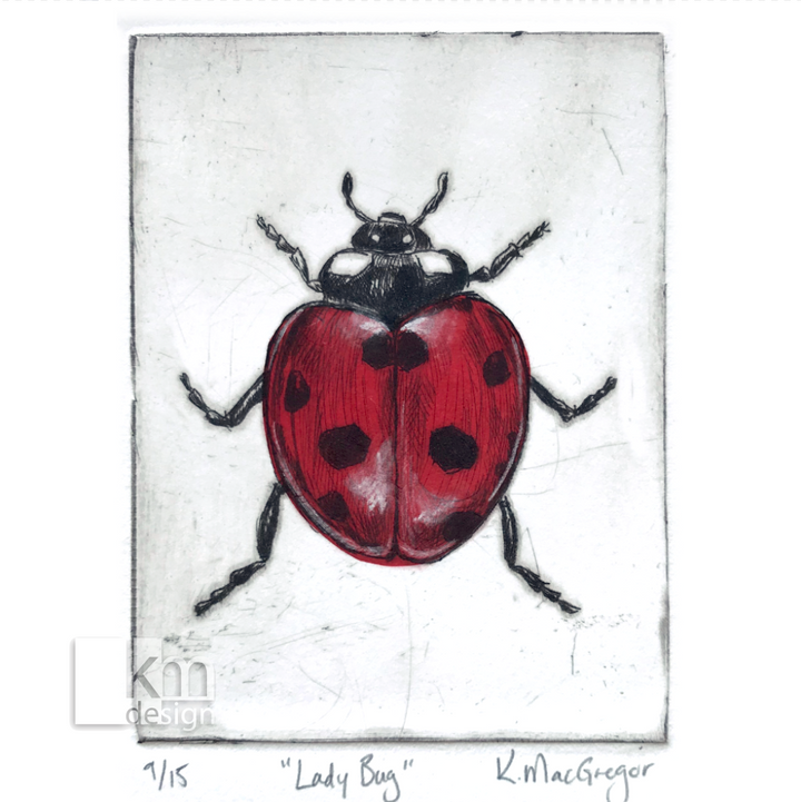 Red Ladybug, [product type],handmade - Kristine MacGregor - KM Design - Art - Printmaking