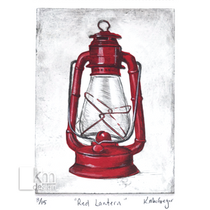 Red Lantern, [product type],handmade - Kristine MacGregor - KM Design - Art - Printmaking