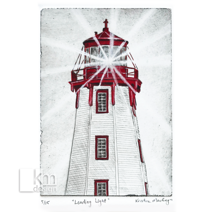 "Red Lighthouse ""Leading Light"", [product type],handmade - Kristine MacGregor - KM Design - Art - Printmaking"