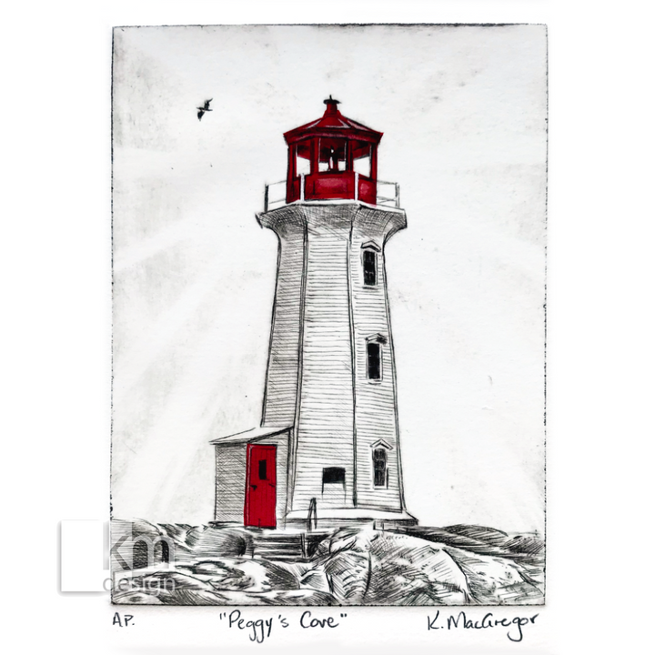 "Red Lighthouse ""Peggy's Cove"", [product type],handmade - Kristine MacGregor - KM Design - Art - Printmaking"