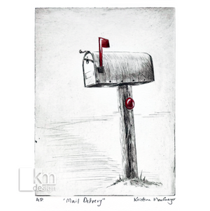 "Red Mailbox ""Mail Delivery"", [product type],handmade - Kristine MacGregor - KM Design - Art - Printmaking"