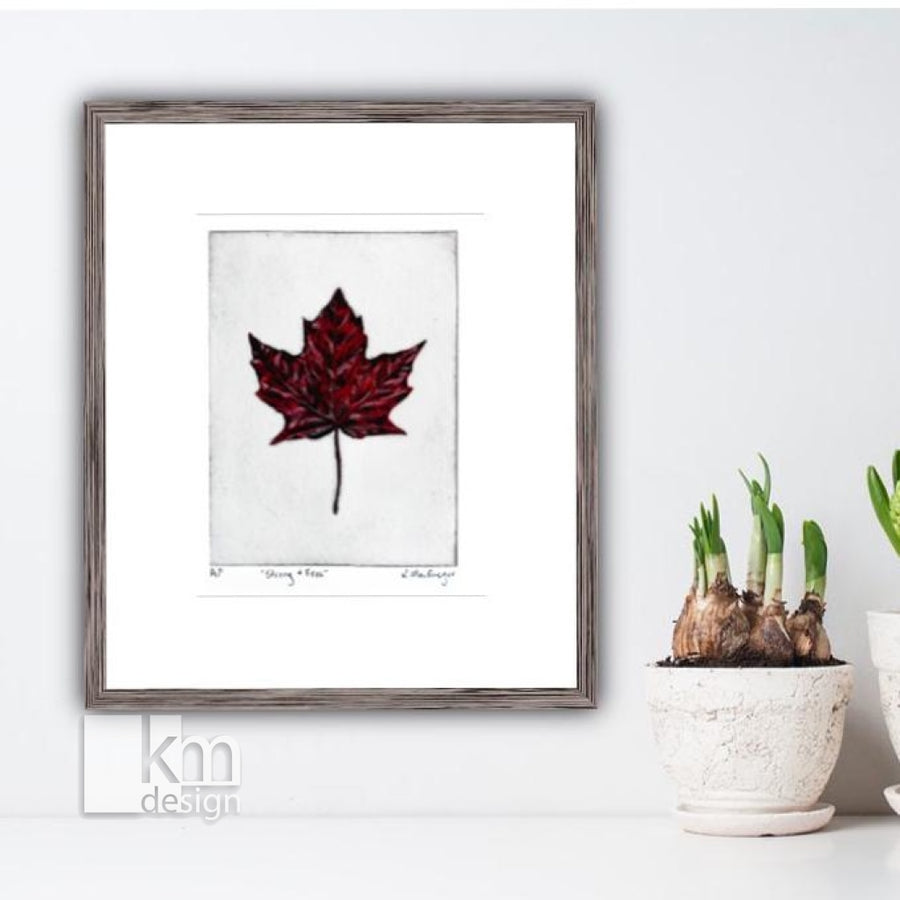"Red Maple Leaf ""Strong and Free"", [product type],handmade - Kristine MacGregor - KM Design - Art - Printmaking"