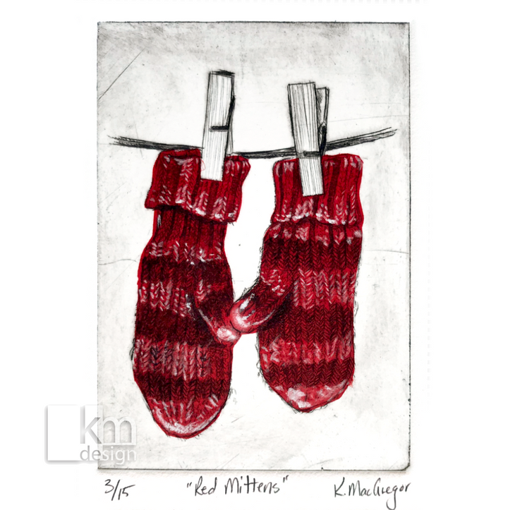 Red Mittens, [product type],handmade - Kristine MacGregor - KM Design - Art - Printmaking