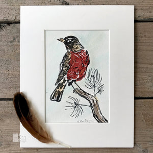 Red Robin - original print, [product type],handmade - Kristine MacGregor - KM Design - Art - Printmaking