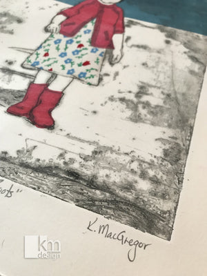Red Rubber Boots, [product type],handmade - Kristine MacGregor - KM Design - Art - Printmaking